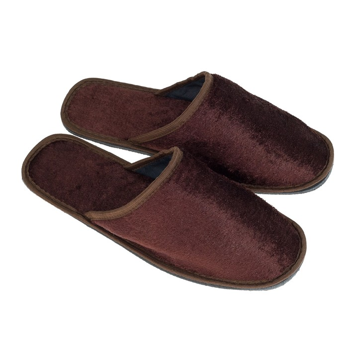Тапочки мужские, цвет коричневый, размер 44-45