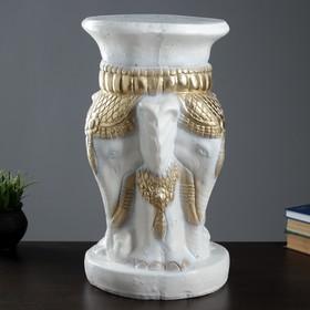 """Подставка-тумба """"Слоны""""   белый с золотом"""