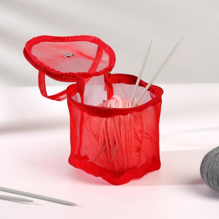 Сумка для вязания, d = 13,5 см, 14 см, цвет красный