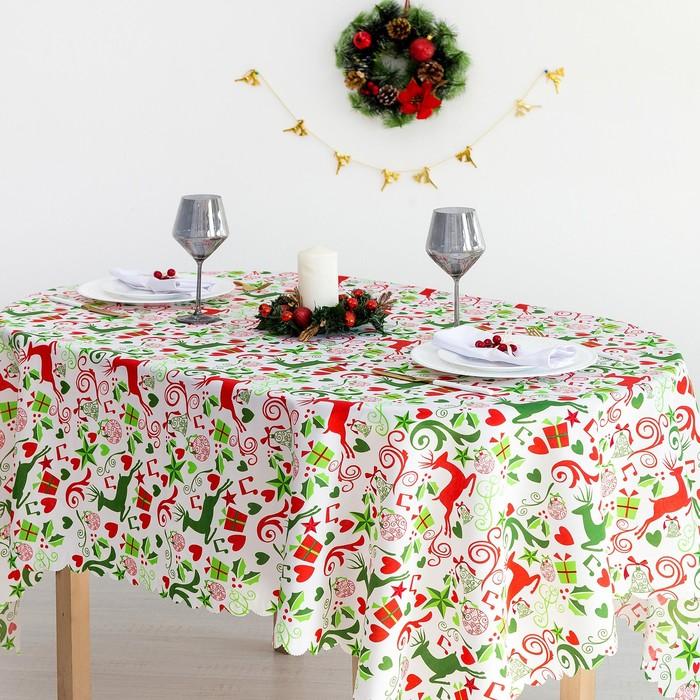 Скатерть Доляна «Рождественские подарки» 145×220 см, 100% п/э