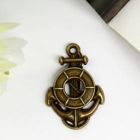 "Decor art metal ""Anchor and lifeline"" bronze 2,4x1,7 cm"