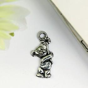 """Decor art metal """"Bear with Daisy"""" silver 2x1 cm"""