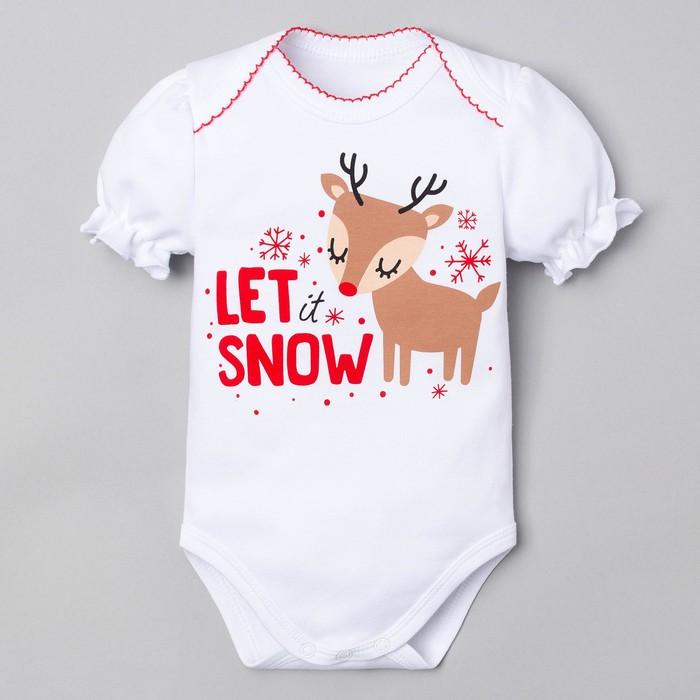 """Боди Крошка Я """"Let snow"""", белый, р.22, рост 62-68 см"""