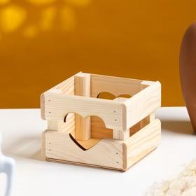 """Кашпо деревянное 12×11×9 см """"Однушка Лайт"""", двухреечное, сердце, натуральный Дарим Красиво"""