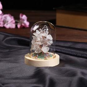 """Сувенир """"Денежное дерево в колбе"""" Горный хрусталь 36 камней 10х7,8х7,8 см"""