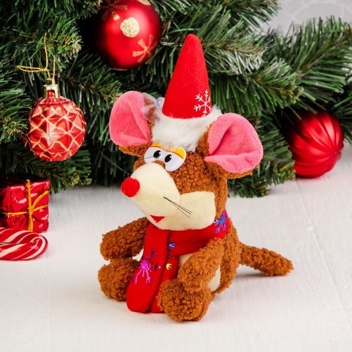 """Мягкая игрушка-присоска """"Мышонок в новогоднем колпаке"""" цвет МИКС"""