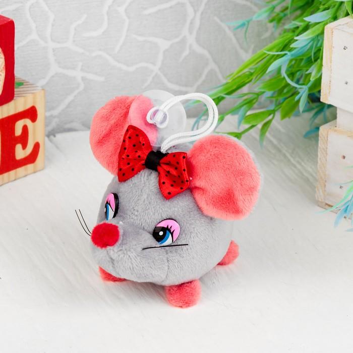 """Мягкая игрушка-присоска """"Мышка бант в горошек"""" цвет МИКС"""