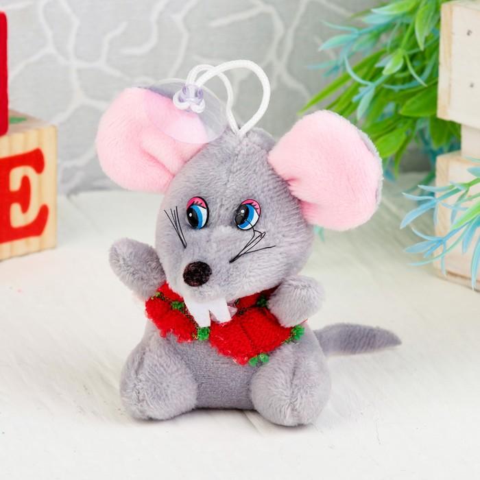 """Мягкая игрушка-присоска """"Мышонок в красном жилете"""" цвет МИКС"""
