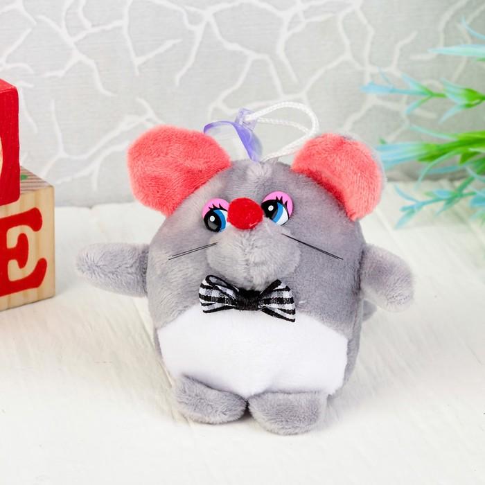 """Мягкая игрушка-присоска """"Мышонок белый животик"""" цвет МИКС"""