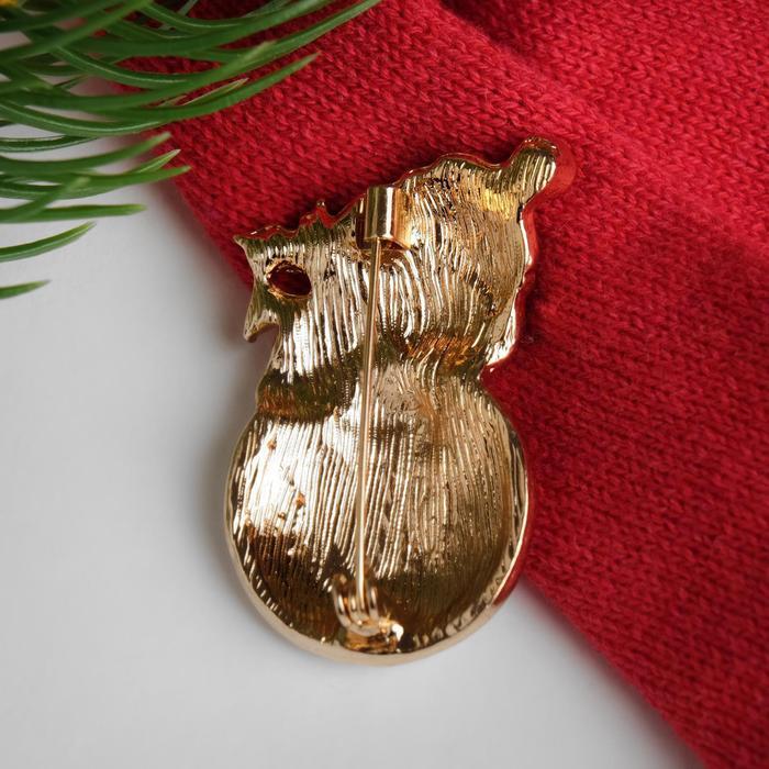 """Брошь """"Новогодняя сказка"""" снеговичок-пухлячок, цветная в золоте"""