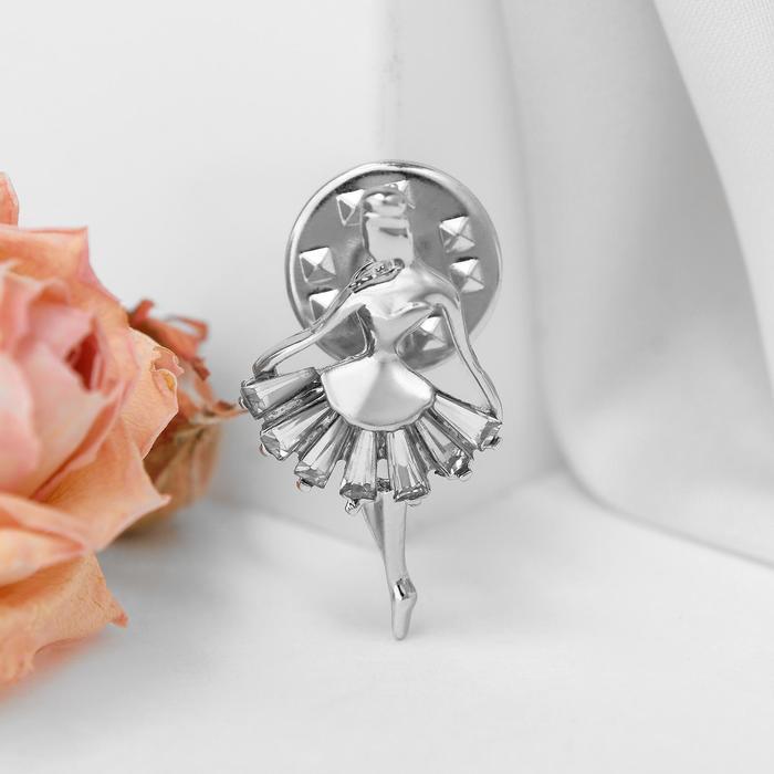 """Значок """"Балерина"""" мечтай, цвет белый в серебре"""