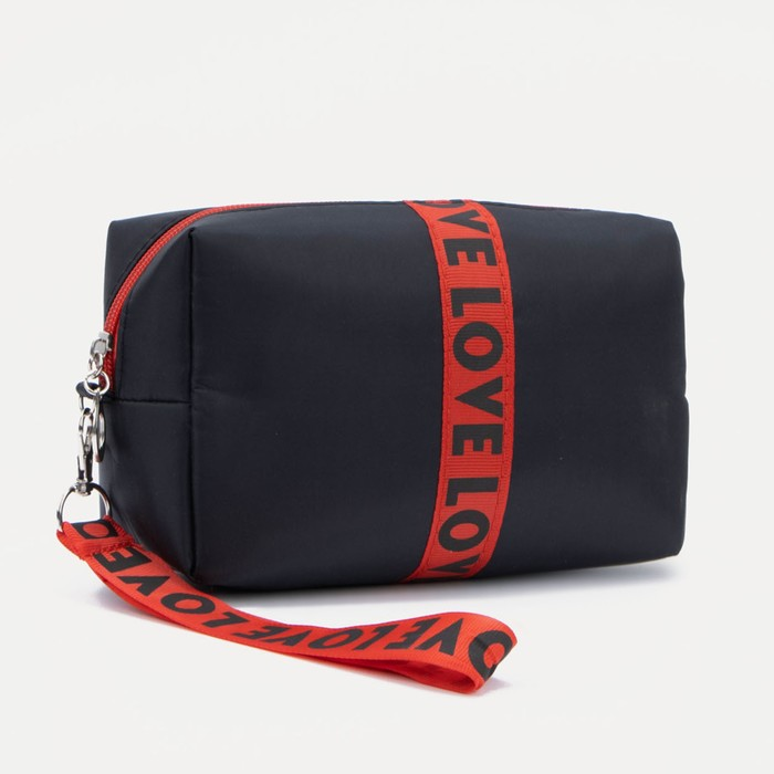 Косметичка дорожная, отдел на молнии, с ручкой, цвет чёрный/красный