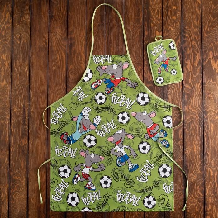Кухонный набор Футболист фартук 60х80, прихватка 22х15 см, зеленый