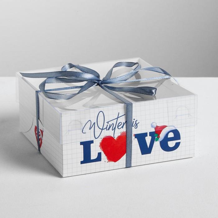 Коробка для капкейка «Новогодний котик», 16 × 16 × 7.5 см