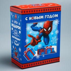 """Коробка складная """"С Новым годом"""",Человек-паук, 14.8 х 20 х 8 см"""