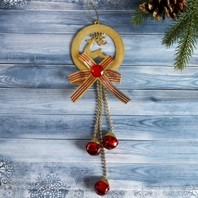 """The decoration of the Christmas """"Bells"""" on a hanger with deer and 8.5*22 cm, gold"""