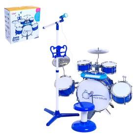 Барабанная установка «Настоящий барабанщик» с пианино, стульчиком, микрофоном, МИКС