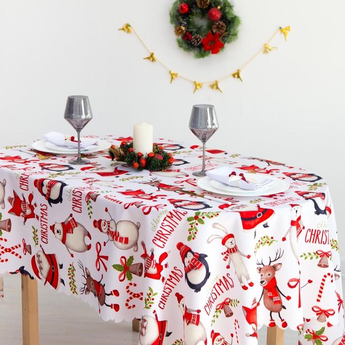 Скатерть Доляна «Christmas» 110×145 см, 100% п/э