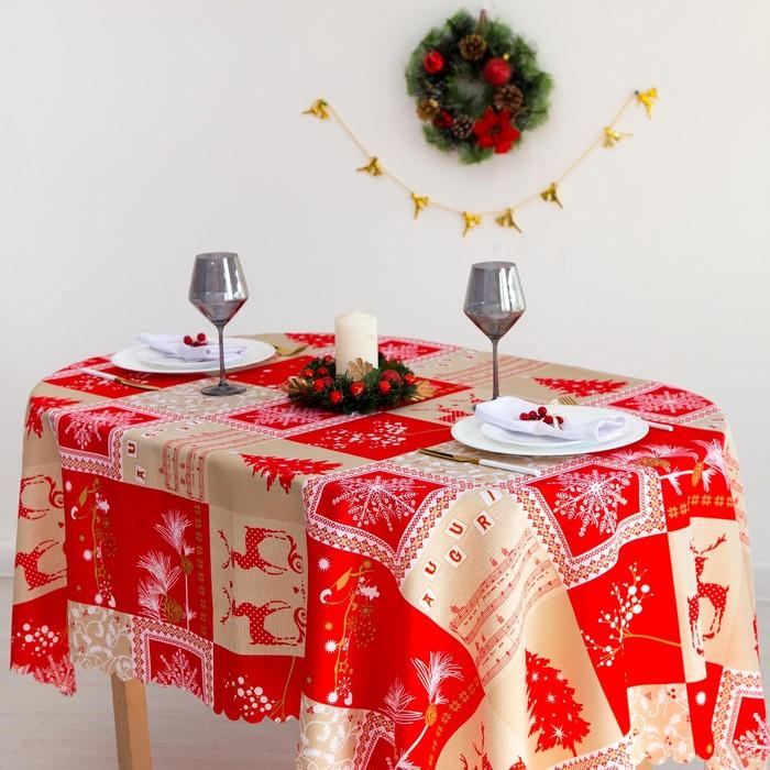 Скатерть Доляна «Новогодние олени» 145×180 см, 100% п/э