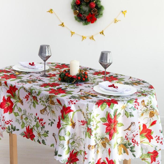 Скатерть Доляна «Рождество» 145×180 см, 100% п/э