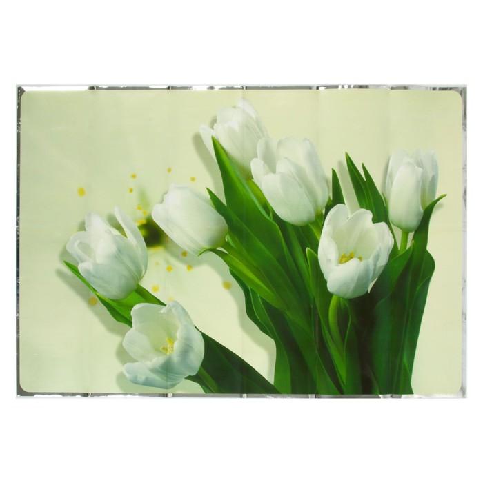 """Наклейка на кафельную плитку """"Белые тюльпаны"""" 60х90 см"""