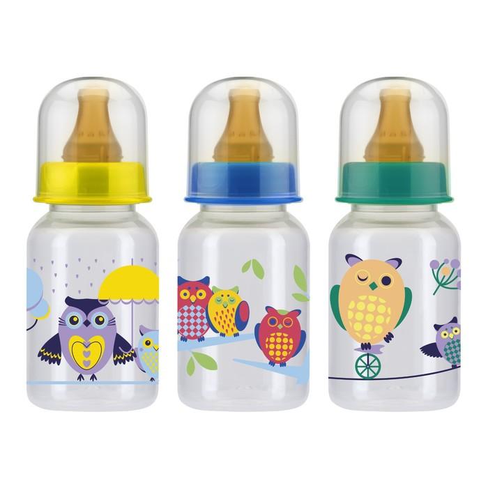 Бутылочка для кормления с латексной соской, 125 мл, от 0 мес., цвета МИКС