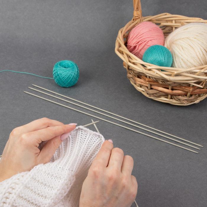 Спицы для вязания, чулочные, d = 2,25 мм, 35 см, 5 шт