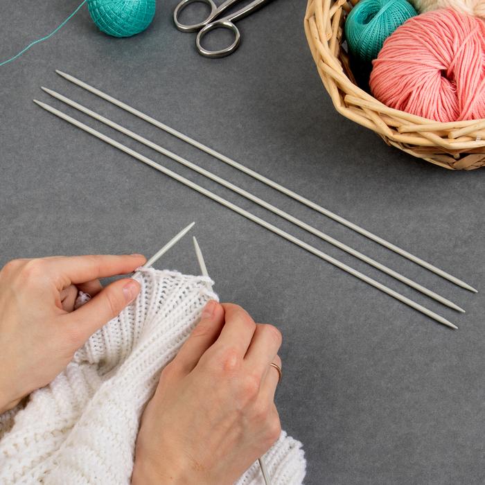 Спицы для вязания, чулочные, d = 3,5 мм, 35 см, 5 шт