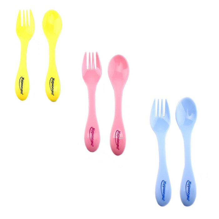Набор столовых приборов, 2 предмета: ложка, вилка, от 4 мес., цвета МИКС