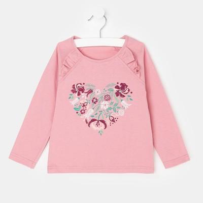 Лонгслив для девочки, цвет розовый, рост 92 см (52)