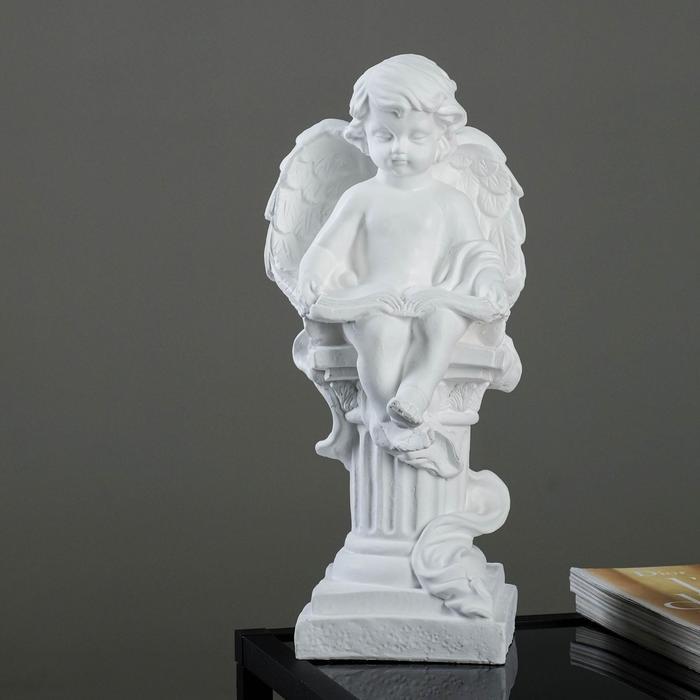 """Фигура """"Ангел на колонне с книгой малый"""" белый, 16х16х34см"""