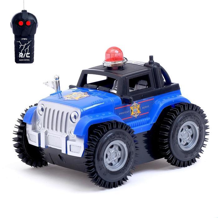 Машина перевёртыш радиоуправляемая «Полиция», работает от батареек, цвет синий