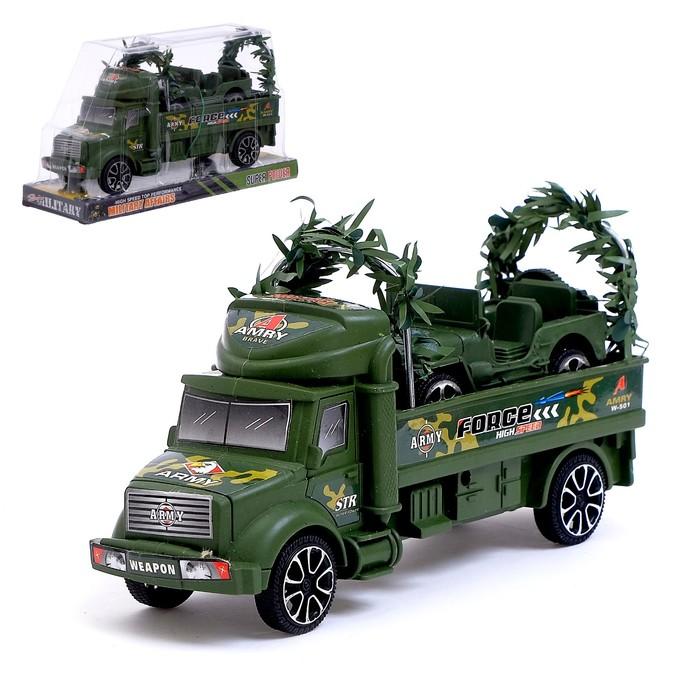 Грузовик инерционный «Военный автовоз» с джипом