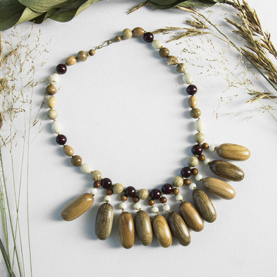 "Necklace handmade, wooden ""Cream"""