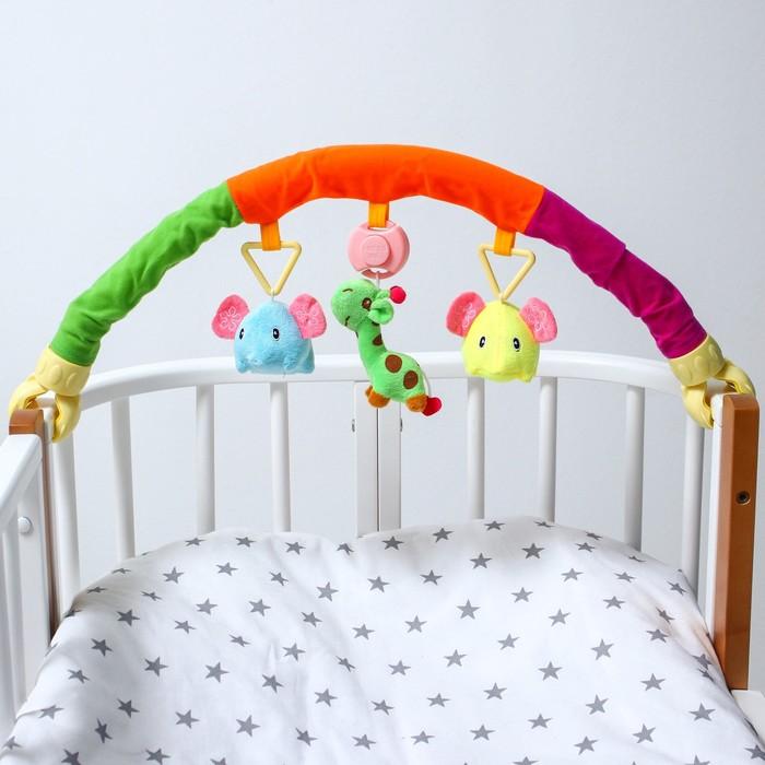 Дуга игровая музыкальная на коляску/кроватку «Слоники», 3 игрушки