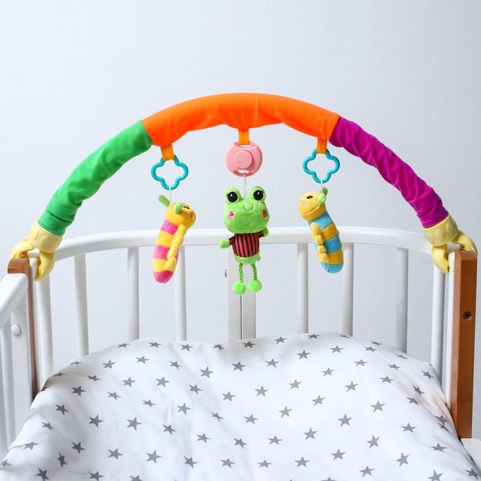 Дуга игровая музыкальная на коляску/кроватку «Гусенички», 3 игрушки