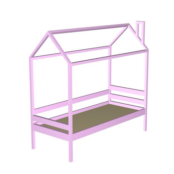 Кровать домик №11Р, 80х160 см, без бортика, цвет розовый