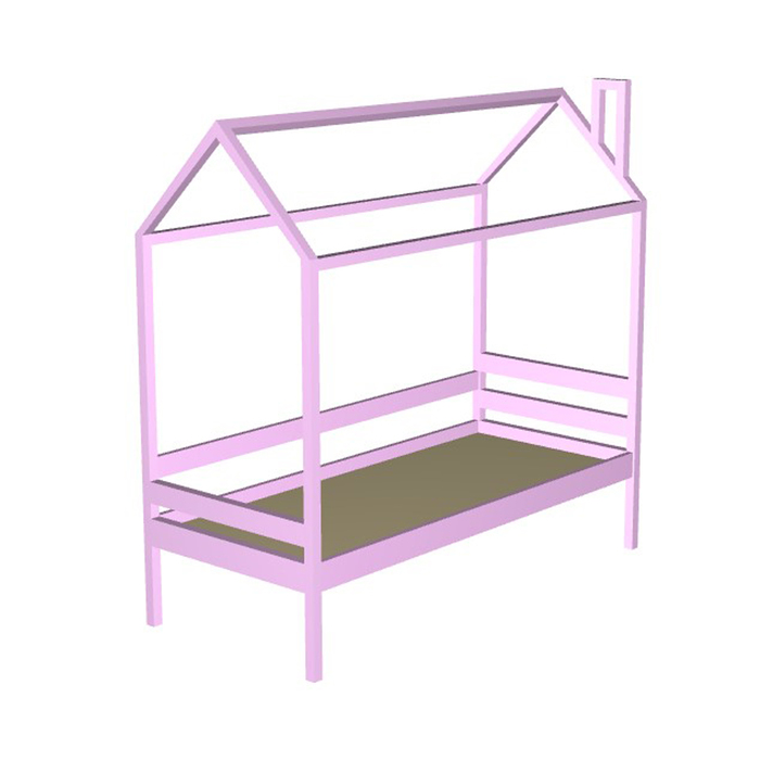 Кровать домик №1Р, 80х140 см, без бортика, цвет розовый