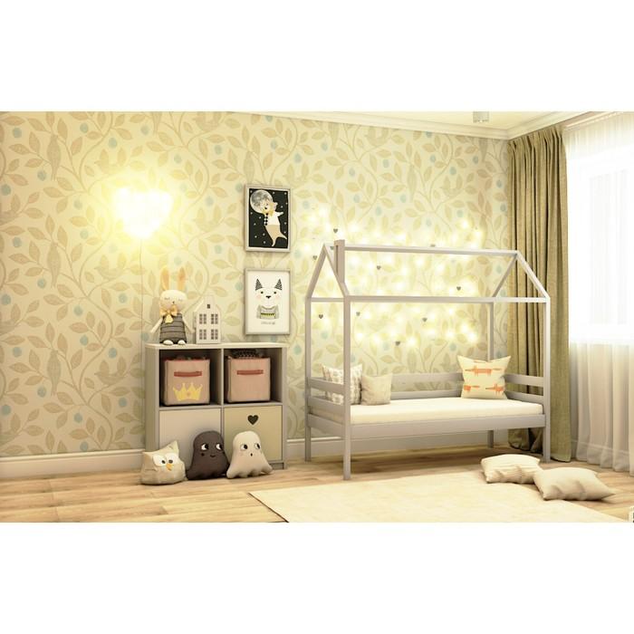 Кровать домик №1С, 80х140 см, без бортика, цвет серый