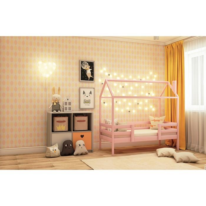 Кровать домик №22Р, 80х160 см, цвет розовый