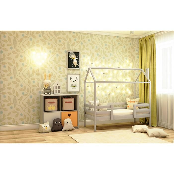 Кровать домик №2С, 80х140 см, цвет серый