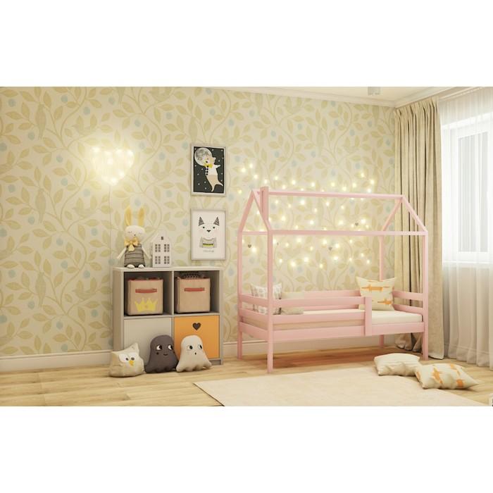 Кровать домик №3Р, 80х140 см, цвет розовый