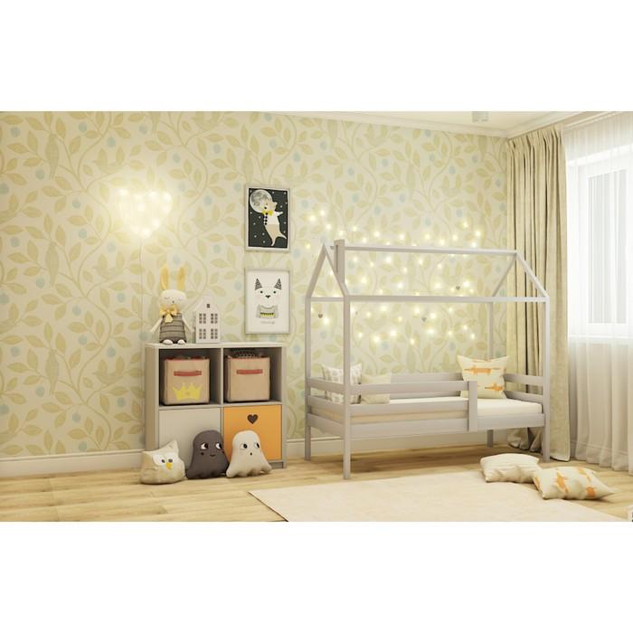 Кровать домик №3С, 80х140 см, цвет серый