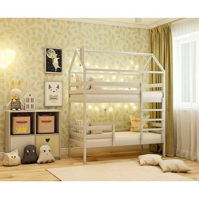 Кровать домик двухъярусная №77C, 80x160 см, цвет серый