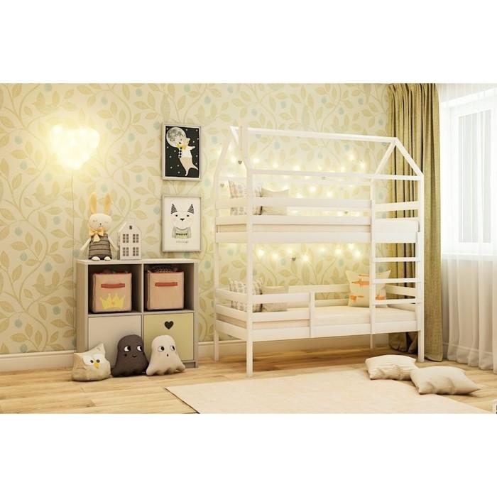 Кровать домик двухъярусная №77, 80x160 см, цвет белый