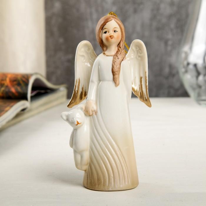 """Сувенир керамика подвеска """"Девочка-ангел в платье-волна с мишкой в руке"""" 12,4х3,8х6,8 см"""