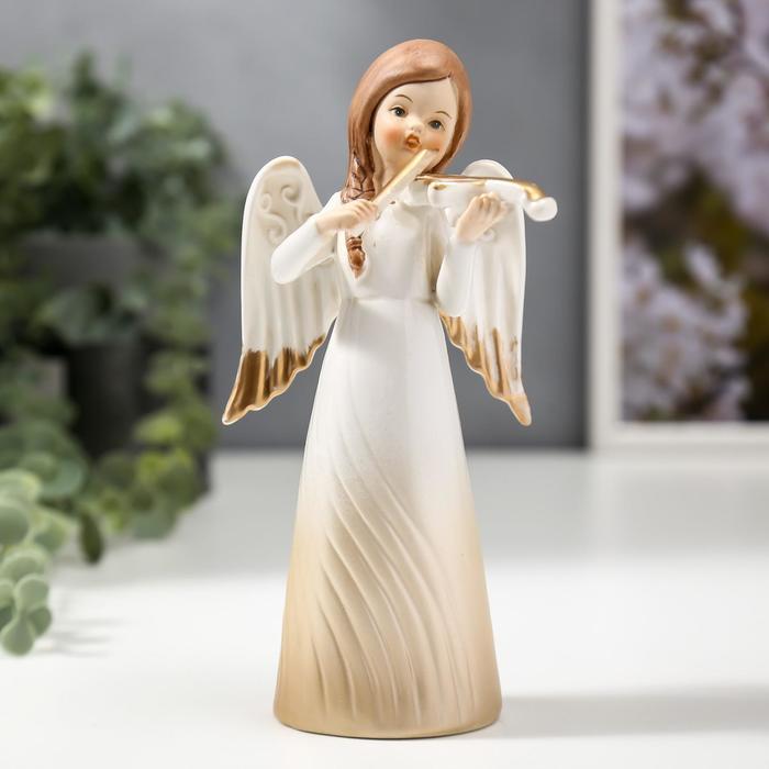 """Сувенир керамика """"Девочка-ангел в платье-волна со скрипкой"""" 17,4х6,8х8,3 см - фото 798263387"""