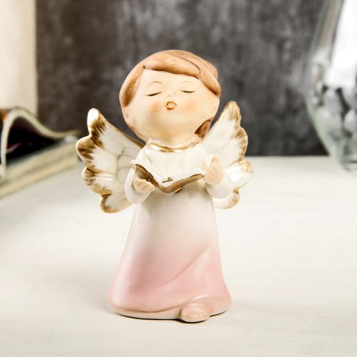 """Сувенир керамика """"Ангел-малыш в перламутро-розовом платье с книгой"""" 9,7х6х6,7 см"""