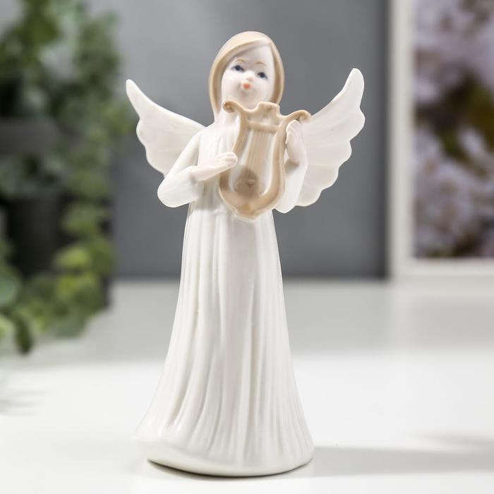 """Сувенир керамика """"Ангел-девочка в длинном платье, с лирой"""" 14,7х6,3х8,7 см"""