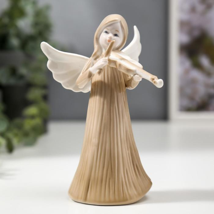 """Сувенир керамика """"Ангел-девочка в длинном платье, со скрипкой"""" 14,7х6,3х8,7 см - фото 798263441"""